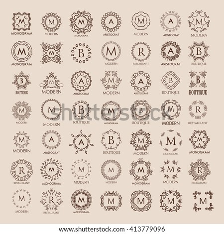 Big bunch of luxury, simple and elegant monogram design templates. Good for labels and logos. Vector illustration. Line style.   Vector  Logo design.