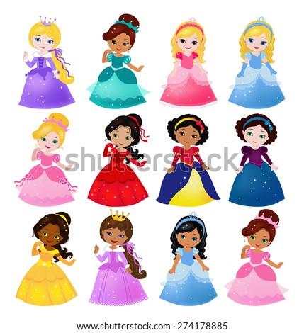 Big Bundle cute collection of beautiful princesses Сток-фото ©