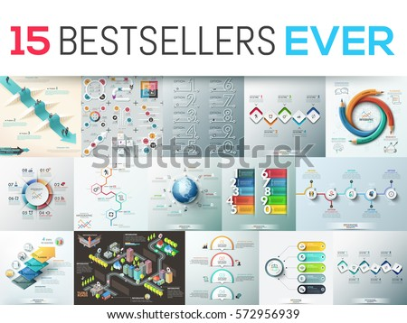 Big bundle of 15 modern infographic design templates. Collection of diagram, chart, scheme and workflow elements. Vector illustration for business presentation, corporate report, website, brochure.