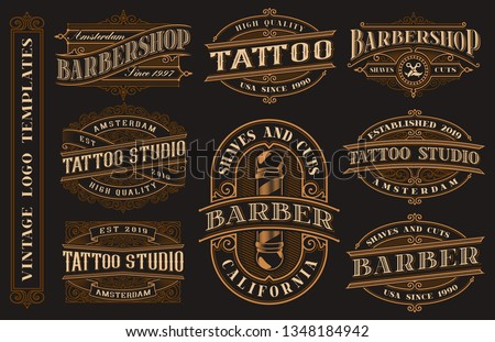 Big bundle of vintage logo templates for the tattoo studio and barbershop on a dark background.All text and text are in separate groups.
