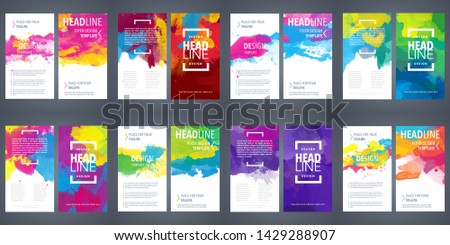 Big bundle set of bright vector colorful watercolor background for poster, brochure or flyer