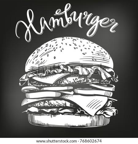 big burger, hamburger hand drawn vector illustration sketch. chalk menu. retro style