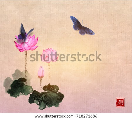 big butterflies and lotus...