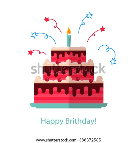 big cake flat icon isolated