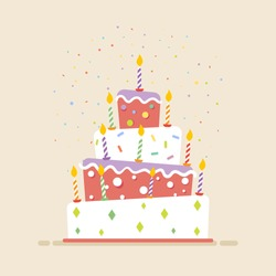Big cake with candles flat. Cake icon, isolated, light background.