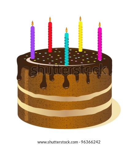 Big cake with candles. The cake on the day of birth. - stock vector