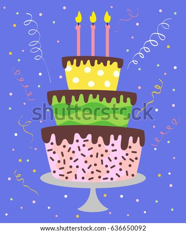 Big Cake With Candles Confetti On The Blue Background Vector Illustration