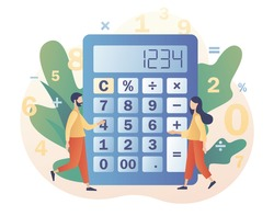 Big calculator and tiny people with calculating. Accounting, financial analytics, bookkeeping,  budget calculation, audit debit and credit calculations. Modern flat cartoon style. Vector illustration