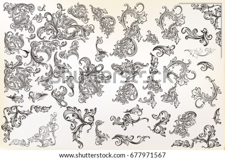 Big calligraphic vector vintage design elements, flourishes, ornaments in retro style