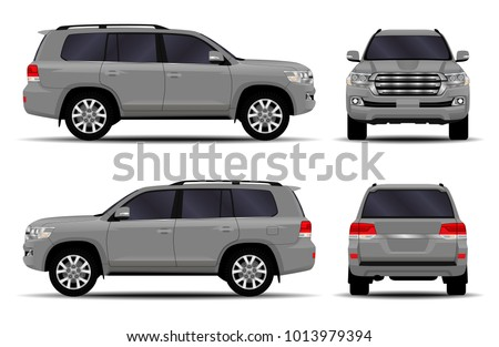 Big car. front view; side view; back view.