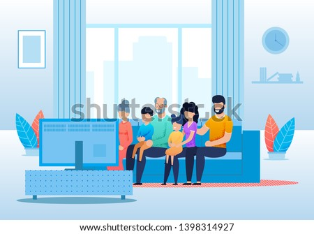 big cartoon family watching tv