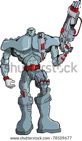 Big Cartoon Robot Soldier with gun. Isolated on white
