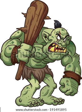 big cartoon troll holding a club vector clip art