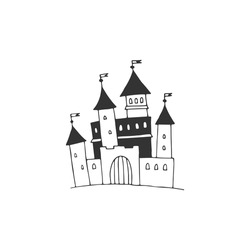 Big castle illustration. Vector sketch black and white object. My home is my castle.