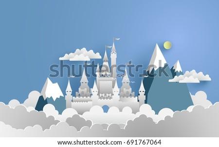 big castle with cloud paper