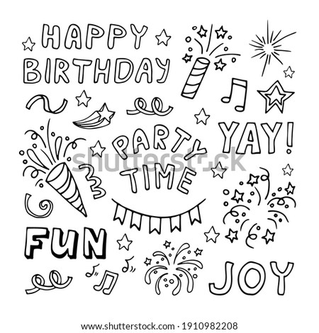 Big celebration clipart set. Party time doodle clipart with quotes and fireworks. Hand drawn icons