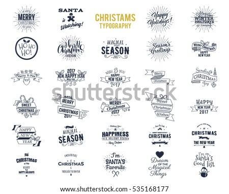 Big Christmas bundle - typography wishes, funny badges, holiday icons and other elements. New Year 2017 lettering, sayings, vintage labels. Season's greetings calligraphy. Stock Vector isolated.