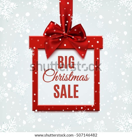 Big Christmas sale, square banner in form of  gift with red ribbon and bow, on winter background with snow and snowflakes. Brochure, greeting card or banner template. Vector illustration.