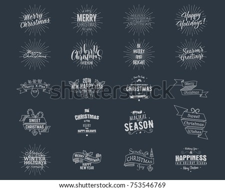 Big Christmas typography quotes, wishes bundle. Sunbursts, ribbons and other xmas elements, icons. New Year lettering, sayings, vintage labels. Season greetings calligraphy. Stock vector isolate.
