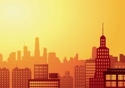 big city at sunset