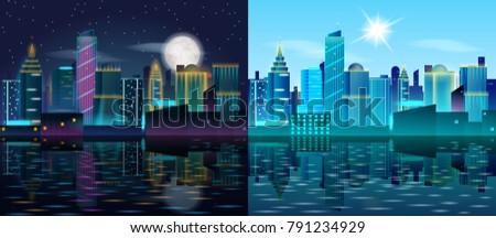 big city day and night