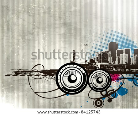 Big City - Grunge styled urban music background. Vector illustration.