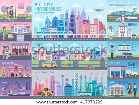 big city infographic set with
