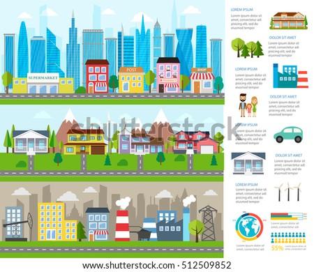 big city infographics with