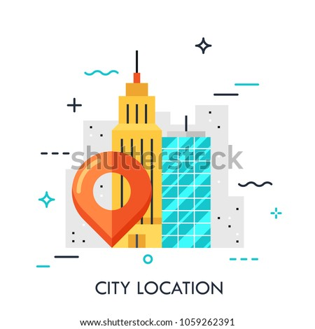 Big city landscape, business center view with location mark. GPS navigation service concept, destination point pin icon. Vector illustration in flat style for website, banner, header, mobile app.