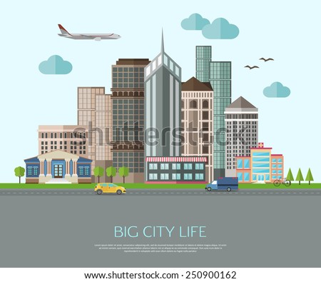 big city life illustration with