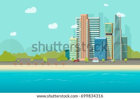 Big city near ocean beach vector illustration, flat cartoon high city skyscraper buildings from sea view, modern town landscape, urban cityscape or shore