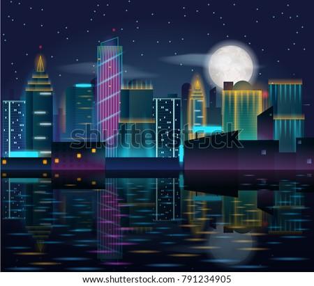 big city night landscape with