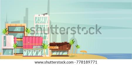 big city ocean beach vector...