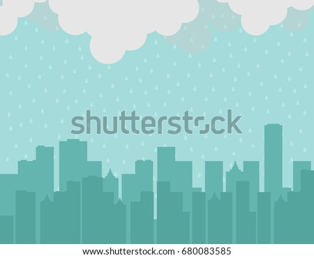 Big city silhouette background under the rain. Monsoon season. Rainy day. Bad moment. Vector illustration.