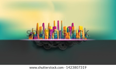 big city surround by colorful