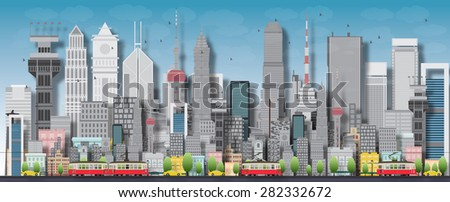 big city with skyscrapers and