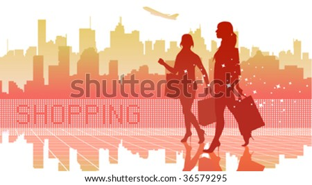 big city women shopping - stock vector