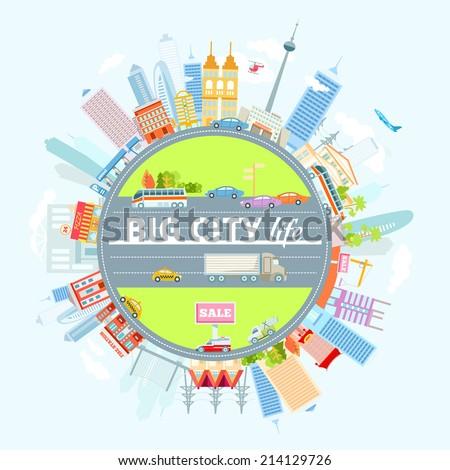 big cityscape located around