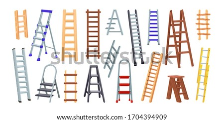 Big colection of wooden and metal Ladders. Vector illustration isolated on white background. Icons for web and design Photo stock ©