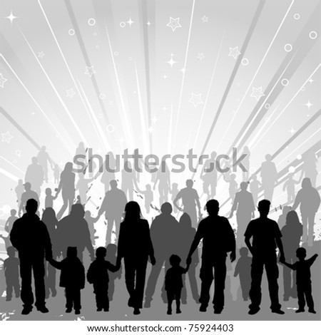 Big collect vector silhouettes of parents with children on decorative background, element for design
