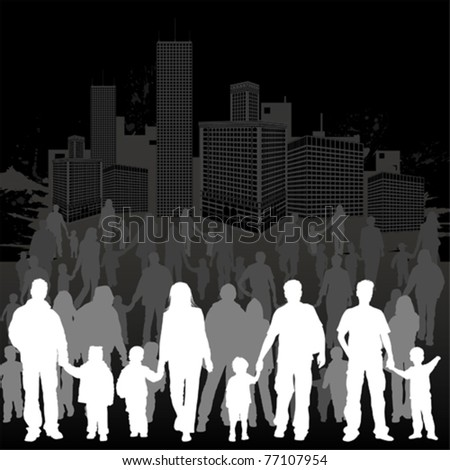 Big collect vector silhouettes of parents with children on grunge urban background, element for design - stock vector
