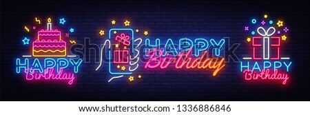 Big collectin neon signs for Happy Birthday. Neon Banner Vector. Happy Birthday neon sign, design template, modern trend design, night light signboard, night bright advertising. Vector illustration