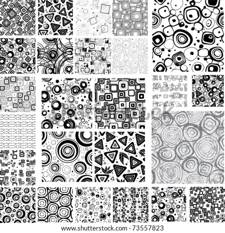 Big collection black-white seamless textures.