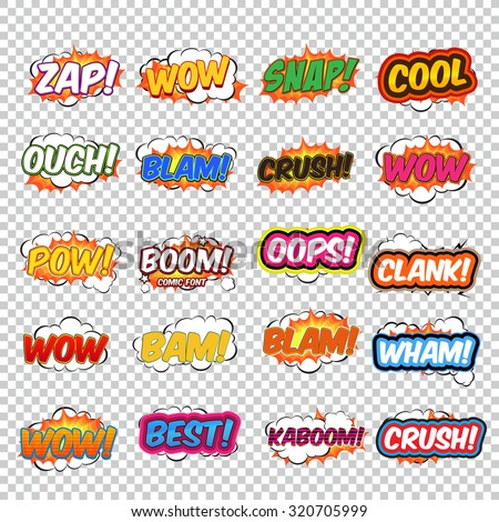 Big collection colorful speech bubbles and explosions in pop art style. Elements of design comic books. Zap, snap, ouch, blam, wow, oops, clank and other from different comic fonts. #320705999