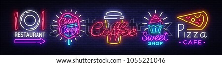 Big collection neon signs on theme food. Set neon signs Restaurant, Sweets, Pizza, Fruits, Cotton Candy, Coffee. Neon banner, light logo emblems, nightly vibrant advertising. Vector illustration