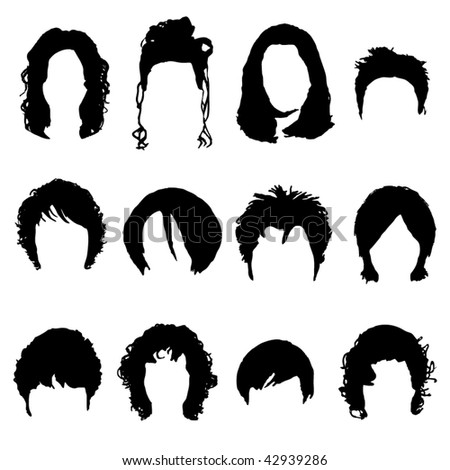 stock vector : Big collection of black hair styling for woman