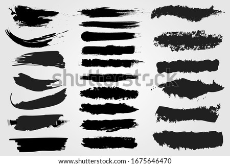 Big collection of black paint, ink brush strokes, brushes, lines, grungy. Dirty artistic design elements, boxes, frames. Vector illustration. Isolated on white background.