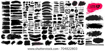 Big collection of black paint, ink brush strokes, brushes, lines, grungy. Dirty artistic design elements, boxes, frames. Vector illustration. Isolated on white background. Freehand drawing. #704822803