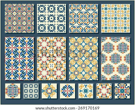 Big Collection of 7 ceramic tiles and 8 patterns, blue-orange style