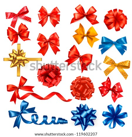 Big collection of color gift bows with ribbons. Vector illustration.